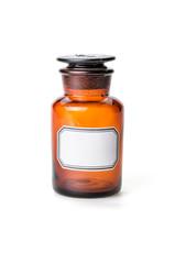 Apothekerflasche aus braunem Glas mit leerem Etikett