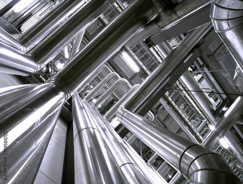 Staande foto Industrial geb. Industrial zone, Steel pipelines and cables