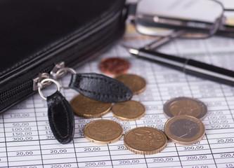 Monety Euro na tle zestawienia finansowego