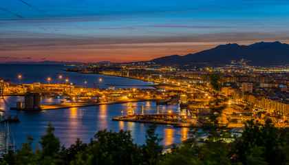 View over Port and Harbour at night, Malaga, Andalusia, Spain