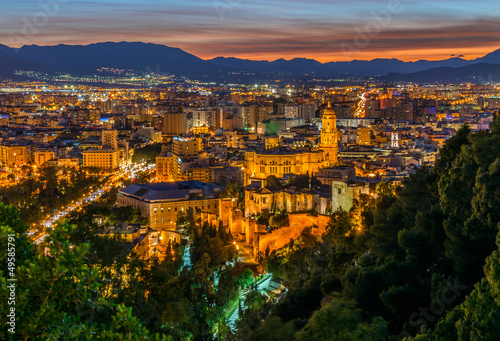 View over Malaga City at night, Andalusia, Spain