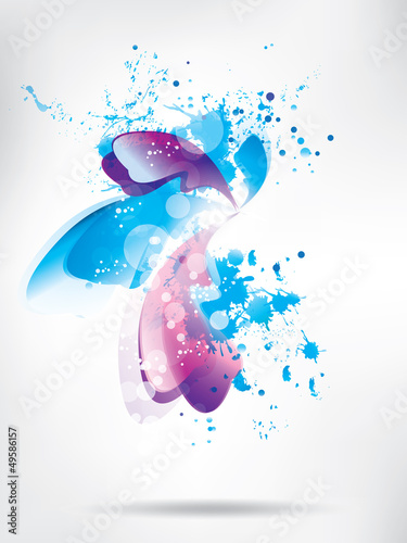 Colored paint splashes  on abstract background