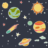 Set of cartoon space elements: sun, planets and moon
