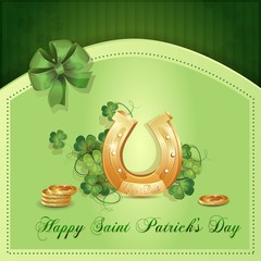 Saint Patrick's Day card with clover ,horseshoe  and gold