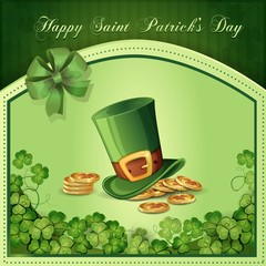 Saint Patrick's Day card with clover ,hat and gold