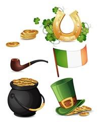 Saint Patrick's Day symbols isolated on white