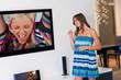 teen girl in front of tv