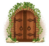 Wooden door with ivy