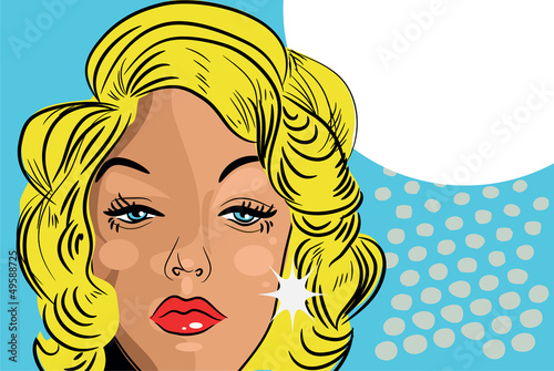sad woman beaitiful face comic tattoo style retro blond