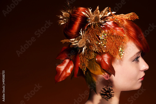 Beauty portrait of red Hair female with luxurious Hair Style mak
