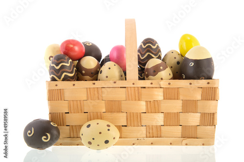 Basket chocolate eggs