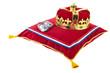 Golden crown on velvet pillow in Holland