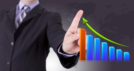 business man et courbe graphique de rentabilité