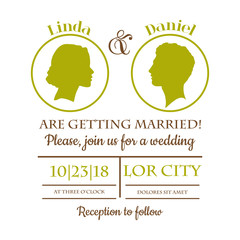 Wedding Invitation Card - Bride and Groom Silhouttes - in vector