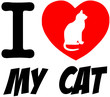 I Love My Cat Red Heart With Silhouette And Text