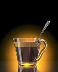3D caffe'espresso con cucchiaio