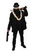Vampire hunter in black with two shotguns rifles