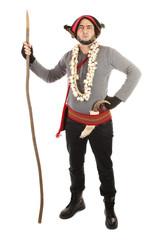 Vampire hunter with hawthorn stake and garlic