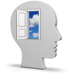 Kopf mit Tür zum Himmel