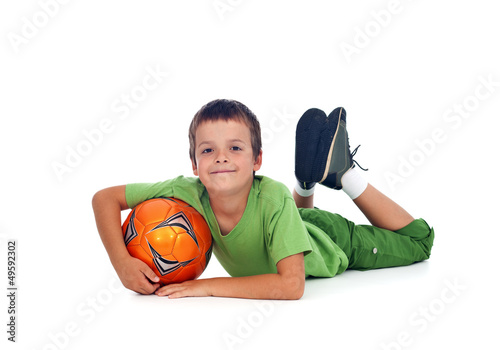 Happy boy with soccer ball