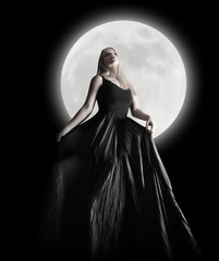 Dark Night Moon Girl with Black Dress