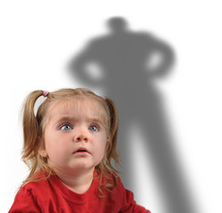 Little Girl and Scary Shadow on White