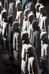 Terracotta warriors lit by sun light