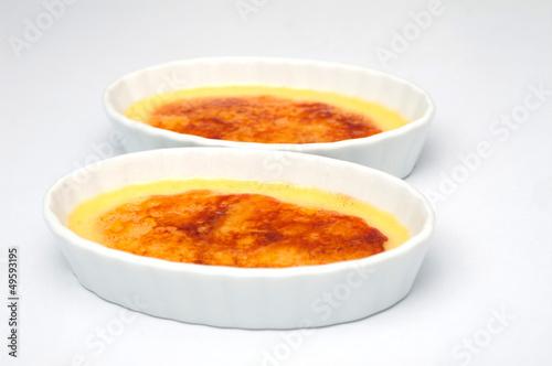 Two caramel flan dessert