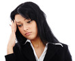 Closeup portrait of sad businesswoman having a headache
