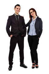 Full length pose of happy young business partners