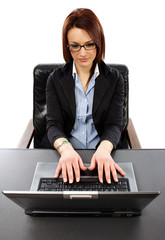 Closeup view of succesful businesswoman typing on her laptop