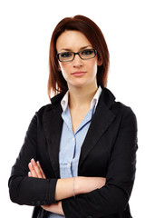 Closeup of smart young businesswoman