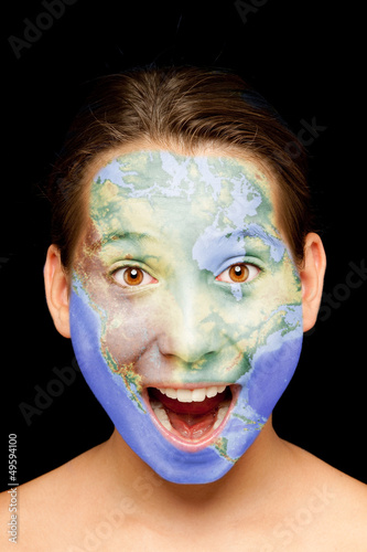 girl with north american map on her face
