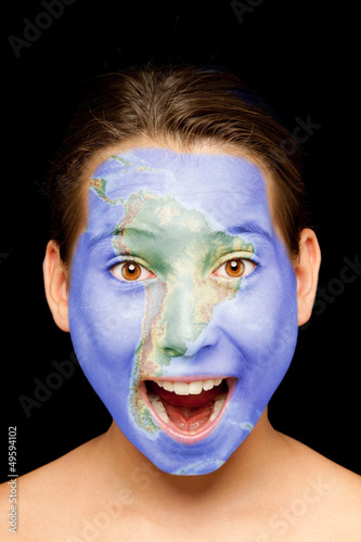 girl with south american map on her face