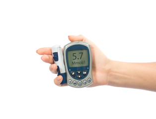 glucometer in hand for measuring glucose level blood