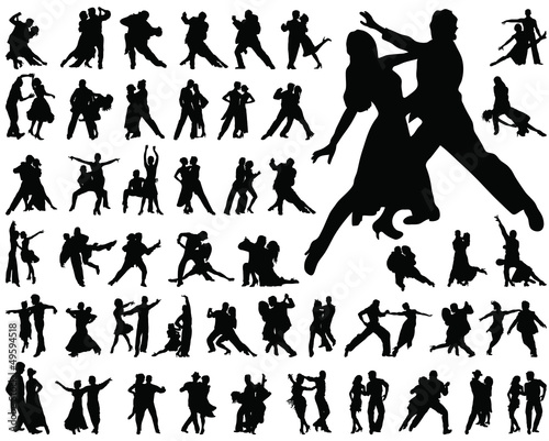 Silhouettes of tango players