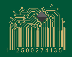 Bar code with computer motherboard elements