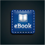 Ebook icon button on blue leather