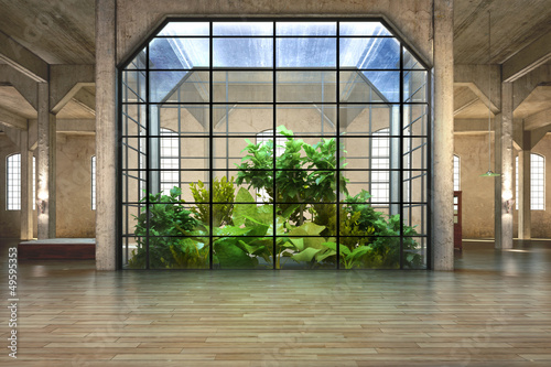 Empty room of business, or residence with atrium background - 49595353