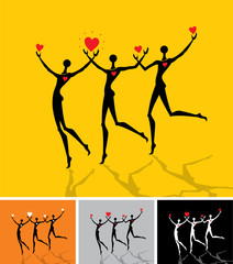 The group of men running silhouettes with red hearts.