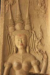 Wall bas-relief of Devata, Angkor Wat temple, Cambodia