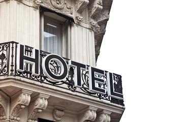 nobles Hotel - Gebäude mit Schild - Balkon