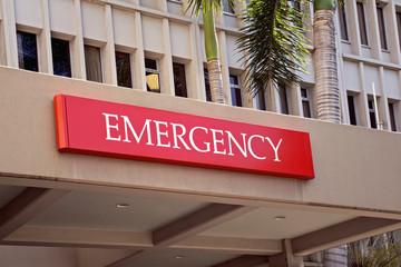 an emergency room entrance at a city hospital.