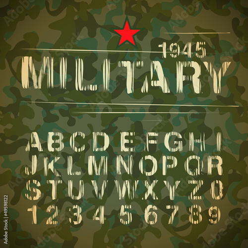 Military Vintage Alphabet, vector Eps10 illustration.