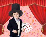 Young magician doing a card trick