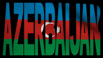 Azerbaijan text with fluttering flag animation