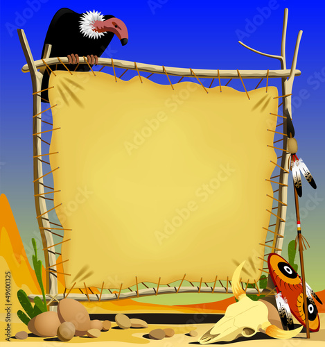 Animal skin banner in a desert