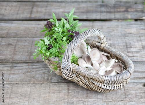 Basket of mushroom, and sweet basil on wooden background