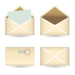 set of  vintage envelopes on white