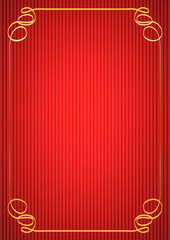calligraphic vintage golden frame on red
